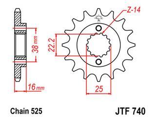 Pignon JT SPROCKETS 14 dents acier pas 525 type 740 Ducati 916 - 46074014