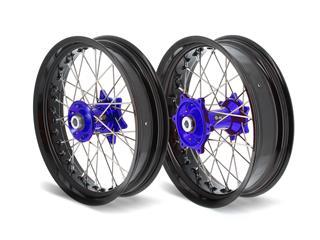 ART SM Complete Front + Rear Wheel 17x3,50/17x4,50 Black Rim/Blue Hub Yamaha