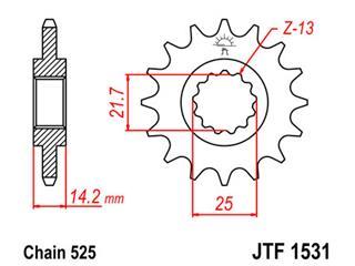 Pignon JT SPROCKETS 15 dents acier pas 525 type 1531 Kawasaki ZR750 Zephyr - 46153115