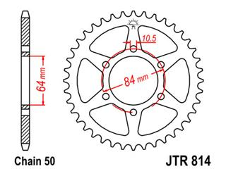 Couronne JT SPROCKETS 44 dents acier pas 530 type 814 - 47081444