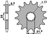 Pignon PBR 13 dents acier standard pas 520 type 565 Kawasaki KX250 - 46456513
