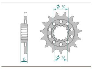 Pignon AFAM 16 dents acier standard pas 525 type 166800 BMW HP4 1000 - 46000392