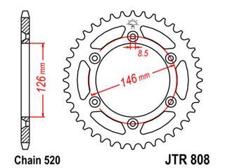 JT SPROCKETS Rear Sprocket 42 Teeth Steel Standard 520 Pitch Type 808