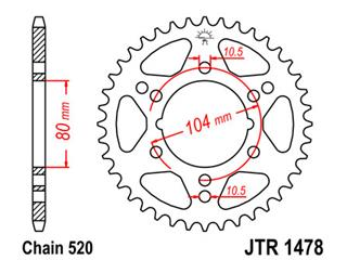 Couronne JT SPROCKETS 34 dents acier pas 520 type 1478 Polaris - 47147834
