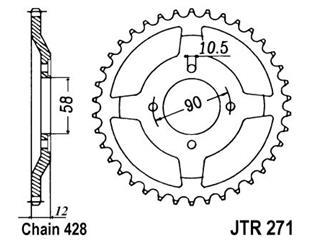 Couronne JT SPROCKETS 50 dents acier standard pas 428 type 271