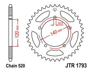 JT SPROCKETS Rear Sprocket 45 Teeth Steel Standard 520 Pitch Type 1793