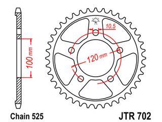 JT SPROCKETS Rear Sprocket 42 Teeth Steel Standard 525 Pitch Type 702