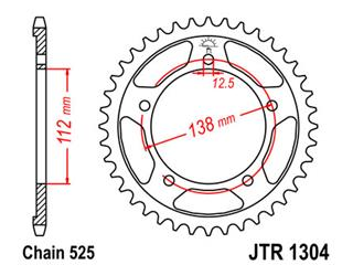 JT SPROCKETS Rear Sprocket 43 Teeth Steel 525 Pitch Type 1304 Honda CB600F Hornet