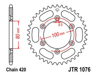 Couronne JT SPROCKETS 52 dents acier pas 420 type 1076 - 47107652