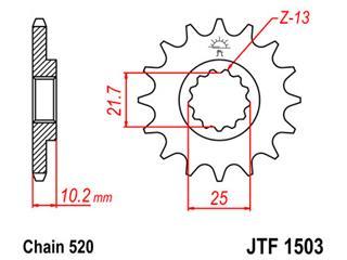 Pignon JT SPROCKETS 12 dents acier pas 525 type 1503 - 46150312