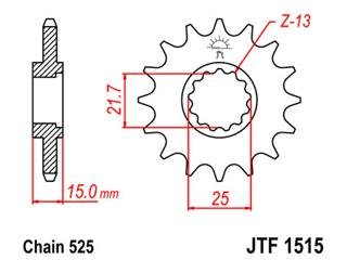 JT SPROCKETS Front Sprocket 15 Teeth Steel Standard 525 Pitch Type 1515