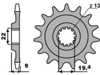 Pignon PBR 13 dents acier standard pas 520 type 2259 Suzuki RMZ250