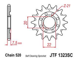 Pignon JT SPROCKETS 14 dents acier anti-boue pas 520 type 1323SC Honda CR125R - 460010