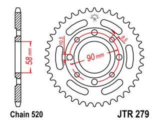 Couronne JT SPROCKETS 39 dents acier pas 520 type 279 - 47027939