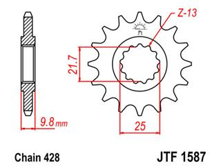 JT SPROCKETS Front Sprocket 19 Teeth Steel 428 Pitch Type 1587