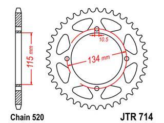 Couronne JT SPROCKETS 50 dents acier pas 520 type 714 - 47071450