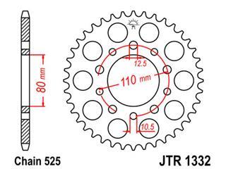 Couronne JT SPROCKETS 44 dents acier pas 525 type 1332 - 47133244