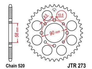 JT SPROCKETS Rear Sprocket 45 Teeth Steel Standard 520 Pitch Type 273