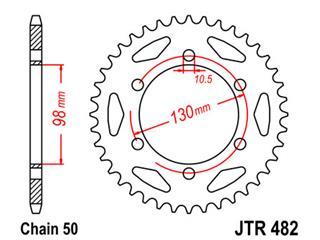 Couronne JT SPROCKETS 47 dents acier standard pas 530 type 482 - 47048247