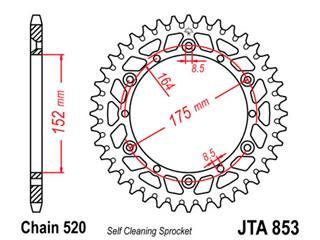 Couronne JT SPROCKETS 52 dents alu ultra-light anti-boue pas 520 type 853