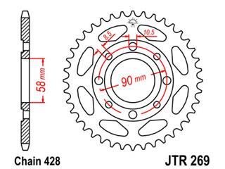 JT SPROCKETS Rear Sprocket 42 Teeth Steel Standard 428 Pitch Type 269