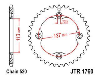Couronne JT SPROCKETS 36 dents acier pas 520 type 1760 Suzuki - 47176036