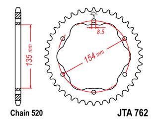 Couronne JT SPROCKETS 38 dents alu ultra-light anti-boue pas 520 type 762 - 4776238
