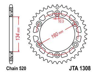 JT SPROCKETS Rear Sprocket 45 Teeth Steel Ultra-Light Pitch 520 Type 1308