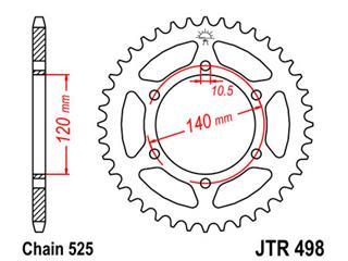 JT SPROCKETS Rear Sprocket 46 Teeth Steel Standard 525 Pitch Type 498