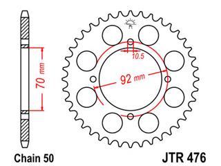 Couronne JT SPROCKETS 44 dents acier standard pas 530 type 476