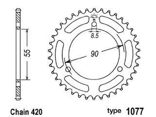 Couronne acier B1 47 dents chaine 420 Rieju RS2 Matrix - 47671047