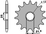 Pignon PBR 16 dents acier standard pas 530 type 566 Cagiva - 46001388