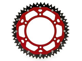 Couronne ART Bi-composants 50 dents aluminium/acier ultra-light anti-boue pas 520 type 822  rouge