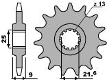 Pignon PBR 19 dents acier standard pas 428 type 2049 Yamaha FZR400RR