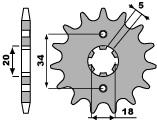 Pignon PBR 14 dents acier standard pas 428 type 264 - 46001356