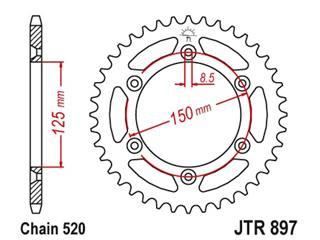 JT SPROCKETS Kroonwiel 52 tanden standaard staal kampeerplaats 520 type 897