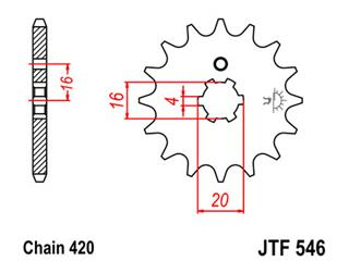 JT SPROCKETS Front Sprocket 13 Teeth Steel Standard 420 Pitch Type 546