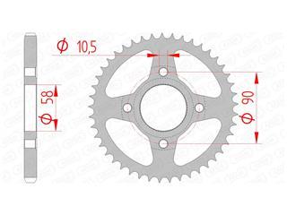 Couronne AFAM 42 dents acier standard pas 428 type 10223 - 47001061