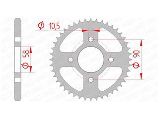 Couronne AFAM 44 dents acier standard pas 428 type 10236