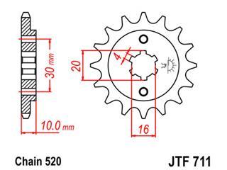 Pignon JT SPROCKETS 13 dents acier pas 520 type 711 - 46071113