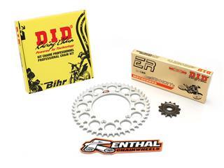 Kit chaîne D.I.D/RENTHAL 520 type ERT2 13/51 (couronne ultra-light anti-boue) Kawasaki KX250 - 482536