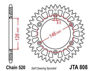 Couronne JT SPROCKETS 47 dents alu ultra-light anti-boue pas 520 type 808 - 470142