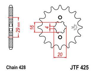 Pignon JT SPROCKETS 16 dents acier pas 428 type 425 - 46042516