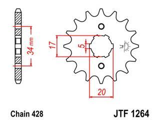 JT SPROCKETS Front Sprocket 15 Teeth Steel Standard 428 Pitch Type 1264