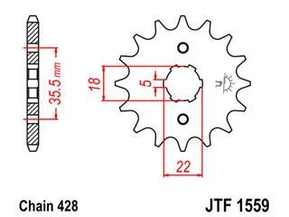 Pignon JT SPROCKETS 14 dents acier pas 428 type 1559 Yamaha TW125 - 46155914