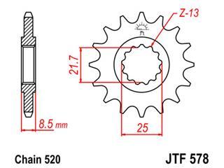 Pignon JT SPROCKETS 16 dents acier pas 520 type 578 - 46057816