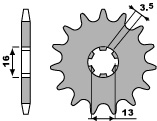 Pignon PBR 12 dents acier standard pas 428 type 428 Suzuki JR80 - 46442812