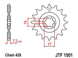 JT SPROCKETS Front Sprocket 13 Teeth Steel Standard 428 Pitch Type 1501