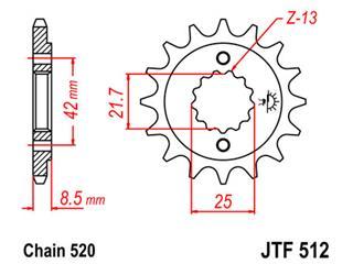 JT SPROCKETS Front Sprocket 16 Teeth Steel Standard 520 Pitch Type 512