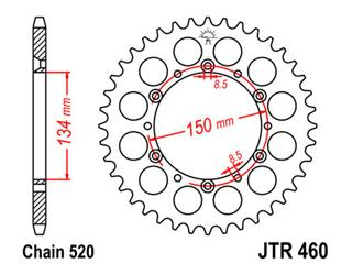JT SPROCKETS Rear Sprocket 50 Teeth Steel Standard 520 Ptich Type 460